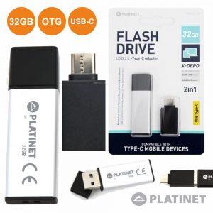 Pen USB 32GB E Adaptador USB-C Cinza X-Depo PLATINET - (PMFEC32S)