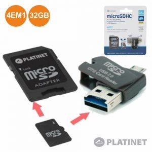 Cartão Micro SD 32GB Class4 Adaptador E Pen Otg PLATINET - (PMMSD32CR4)