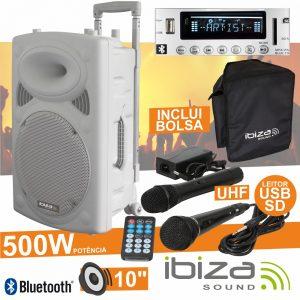 "Coluna Amplificada 10"" 500W USB/BT/SD/Bat Uhf Branco IBIZA - (PORT10UHF-BT-WH)"