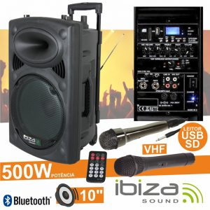 "Coluna Amplificada 10"" 500W USB/BT/SD/Bat Vhf Preta IBIZA - (PORT10VHF-BT)"