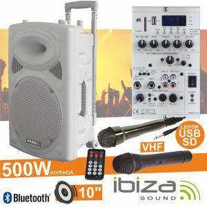 "Coluna Amplificada 10"" 500W USB/BT/SD/Bat Vhf Branco IBIZA - (PORT10VHF-BT-WH)"