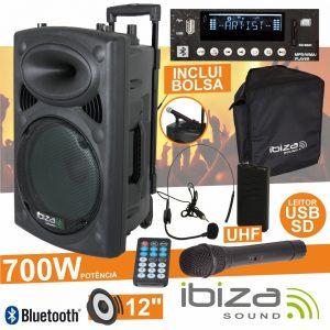 "Coluna Amplificada 12"" 700W USB/BT/SD/Bat Uhf Preta IBIZA - (PORT12UHF-BT)"