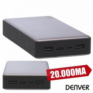 PoWerbank 20000ma C/ Ficha Micro USB + USB-C DENVER - (PBS-20003)