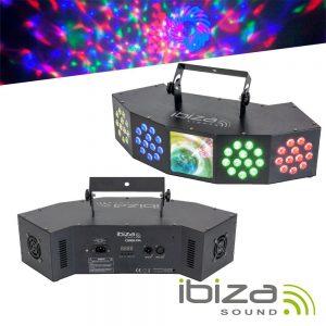 Projetor LED 3em1 Wash Moon Strobe RGBW DMX IBIZA - (COMBI-FX4)