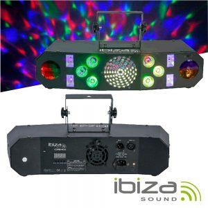 Projetor LED 4em1 Wash Moon Strobe RGBW UV DMX IBIZA - (COMBI-FX3)