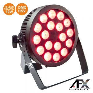 Projetor Par C/ 18 LEDS RGBAW-UV 12W DMX+hsv AFXLIGHT - (PROPAR18-HEX)