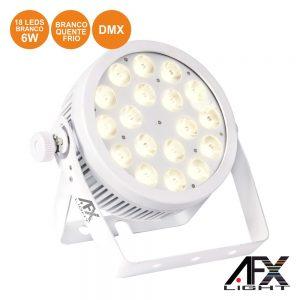 Projetor Par C/ 18 LEDS Brancos 2 Tons 6W DMX AFXLIGHT - (PROPAR18-WH)