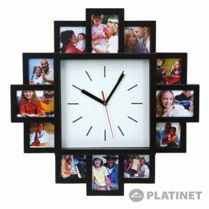 Relógio De Parede Analógico C/ Molduras Fotos PLATINET - (PZSSC)