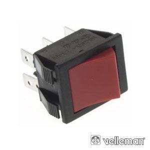 Comutador Basculante 10a-250v Dpdt On-On Tecla Verm - (R905B/R)