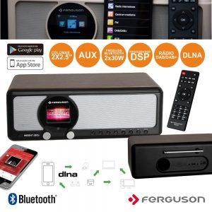 Rádio 2x30W FM/USB/Aux Dab+ Wifi Dlna BT Ferguson - (I350S)