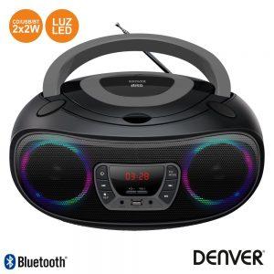 Rádio Portátil Leitor FM/BT/Cd/USB Colunas 2x2W LEDS DENVER - (TCL-212BTGREY)