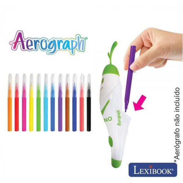 12 Recargas P/ Aerógrafo Color Spray Infantil Lexibook - (CR800A)