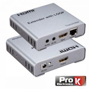 Receptor E Transmissor HDMI Via RJ45 CAT5/6 100m C/ IR PROK - (PK-HDMIRJ45EXTIR05)