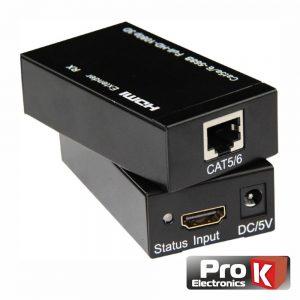 Receptor E Transmissor HDMI Via RJ45 CAT5e/6 60m PROK - (PK-HDMIRJ45EXT02)