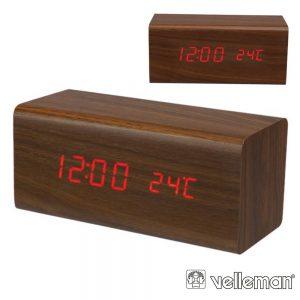 Relógio de Madeira Com Calendário e Temperatura VELLEMAN - (WC233)