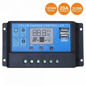 Regulador Painel Fotovoltaico 20a 12/24Vdc 2x USB - (RPS20A/12-24USB)