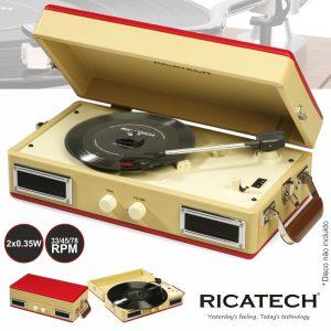 Gira-Discos 33/45/78RPM Vintage 2x0.35W Ricatech - (RTT33)