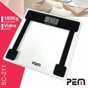 Balança Corporal 180kg Digital Vidro PEM - (SC-211)