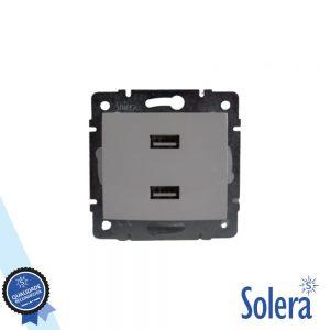 Tomada Encastrar C/ 2 USB 4.2A Sem Moldura SOLERA - (SLR-ERP2USB)
