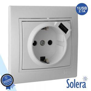 Tomada Elétrica Encastrar C/ Terra E 1USB 5v 2.1A SOLERA - (SLR-ERP60USB-U)