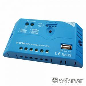 Regulador Painel Fotovoltáico 10a 12/24Vdc USB VELLEMAN - (SOL10UC3)
