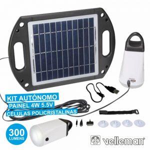 Kit Solar C/ Painel Carregador E Lâmpadas VELLEMAN - (SOL22)