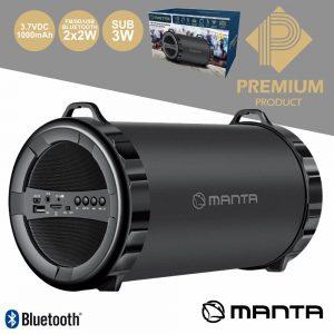 Coluna Bluetooth 2.1 2x2W+5W USB/SD/FM/Aux/Bat Mic MANTA - (SPK204FM)