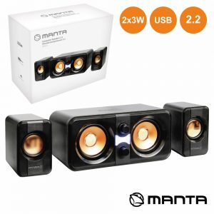 Conjunto Colunas Pc 2.2 2x3W USB MANTA - (SPK211)