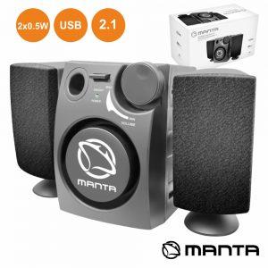 Conjunto Colunas Pc 2.1 2x0.5W USB MANTA - (SPK213)