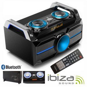 Sistema Som Portátil 120Wmáx USB/BT/FM/Rec LEDS IBIZA - (SPLBOX100)