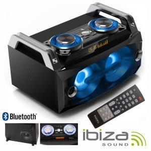 Sistema Som Portátil 120Wmáx USB/BT/FM/Rec LEDS IBIZA - (SPLBOX120)