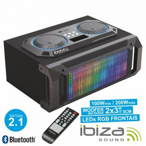 Sistema Som Portátil 2.1 200Wmáx USB/BT/FM/Rec LEDS IBIZA - (SPLBOX150)
