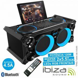 Sistema Som Portátil Preta120Wmáx USB/BT/FM LEDS IBIZA - (SPLBOX200-BK)