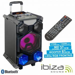 Coluna Amplificada 350W Mic/USB/SD/BT/Bat LED Mesa IBIZA - (SPLBOX350-PORT)
