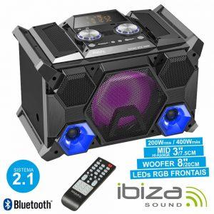Sistema Som Portátil 400Wmáx USB/BT/FM/Rec LEDS IBIZA - (SPLBOX400)