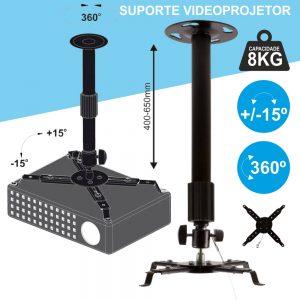Suporte Vídeoprojetor Tecto Extensível 8kg 360º Preto - (SPT8360B)