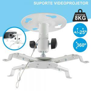 Suporte Vídeoprojetor Tecto Extensível 8kg 360º Branco - (SPT8360W)