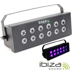 Estroboscópio C/ 12 LEDS UV 3W 5/6 Canais DMX 36W IBIZA - (STROBE12.3LED-UV)