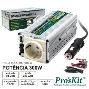 Conversor 24V-230V 300W Onda Sinusoidal Modificada PROSKIT - (TE-1403UB)