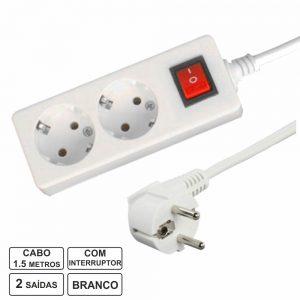 Tomada Elétrica C/ 2 Saídas Interruptor 1.5m Branco Blister - (TE2CB1(G))