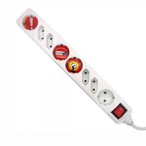 Tomada Elétrica C/ 8 Saídas Interruptor 1.5m Branco - (TE8CB1(C))