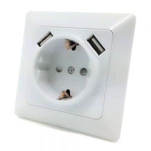 Tomada Elétrica Encastrar C/ 2 Saídas USB 5vdc 2.1A - (TEE1USB2(AN))