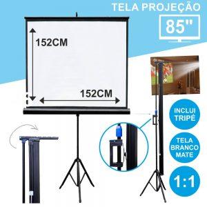 """Tela Projeção C/ Suporte Tripé 85"""" 152x152cm 1:1 - (TPM85)"""