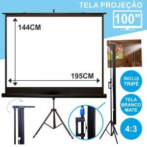 """Tela Projeção C/ Suporte Tripé 100"""" 203x152cm 4:3 - (TPM100/4:3)"""