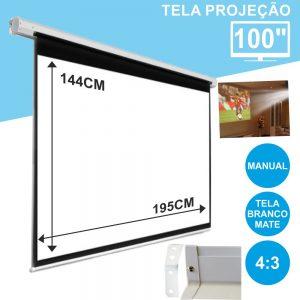 """Tela Projeção Manual Teto/Parede 100"""" 203x152cm 4:3 - (TPM100/P4:3)"""