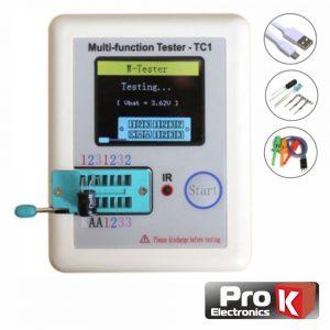 Testador De Componentes Esr Lcr Mosfet C/ Visor Cores PROK - (LCR-TESTER02A)
