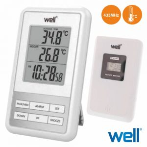 Termómetro Digital Interior/Exterior Relógio C/ Alarme - (THERM-OUTD-SENSE)