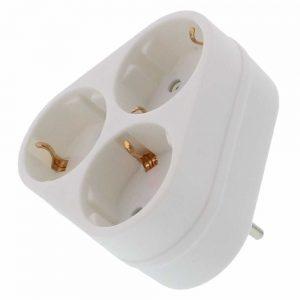 Tomada Elétrica C/ 3 Saídas Branco - (ELAD-3SH/02)