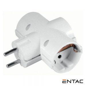 Tomada Elétrica c/ 3 Saídas Branco ENTAC - (EPAG-T3EE)