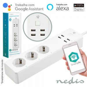 Tomada Elétrica Wifi C/ 3 Schuko 4 USB - (WIFIP310FWT)